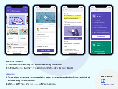 Education App UI UX Case Study (Course taking & buying Problem) redesign homepage illustration website landing page subscription research user experience design case study ui ux app course learning education online