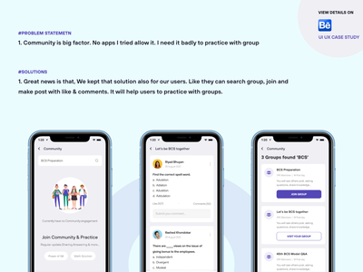 Education App Case Study (Course taking & buying Problem) user centered user experience problem solving comment like post group online learning online education design ui ux app course students help forum community