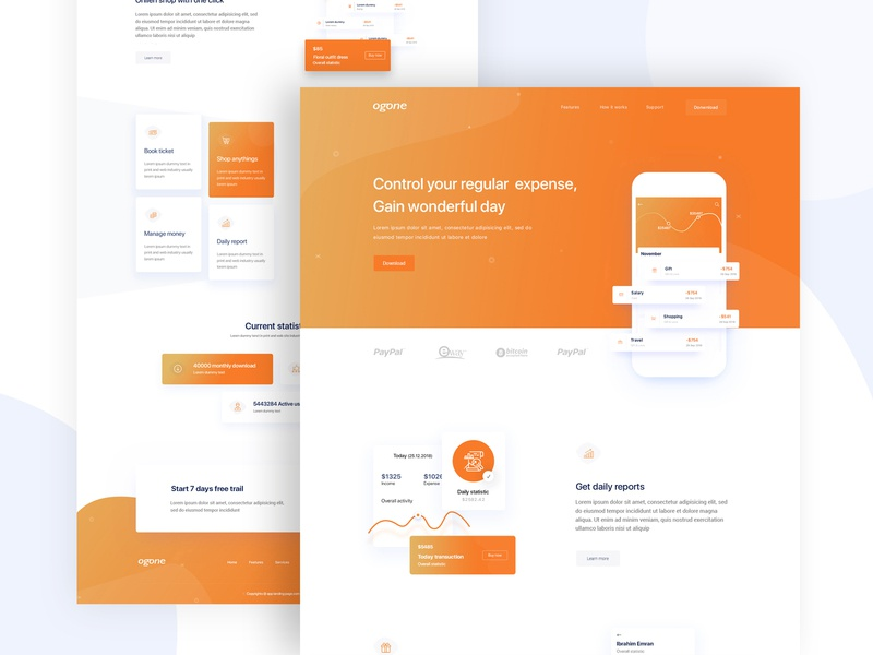 Control your payment - Landing page minimal popular ux ux design ui design transfer money website homepage app payment landing page cards account