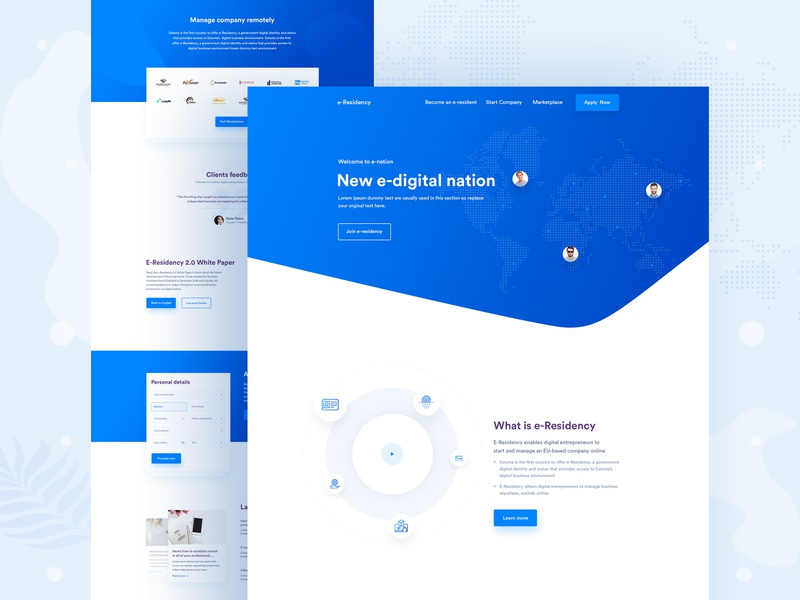 e-residency | Creative Homepage Design website 2020 design trend professional minimal gradiant colorful clean e resident landingpage landing creative agency app landing page creative template ui design homepage