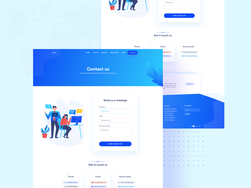 Contact us  page - Upcoming site design homepage landing pagage platform 2020 website seo digital marketing agency b2c app freebie agency shopify b2b digital marketing contact