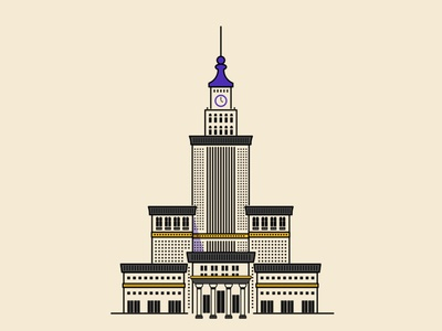 Palace of Culture and Science  warsaw vector simple building palace illustration poland