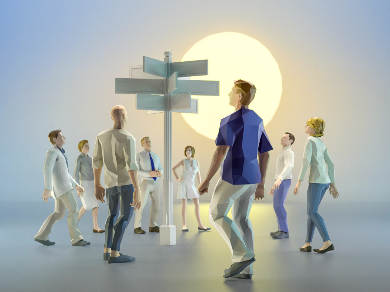 Passersby c4d light lowpoly low poly cinema4d