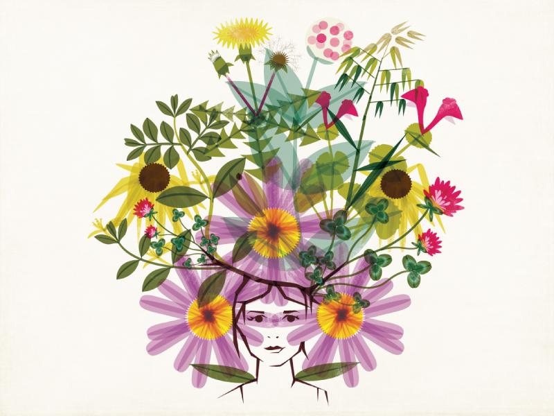 Amy in Weeds illustration portrait botanical weeds flowers self portrait modern