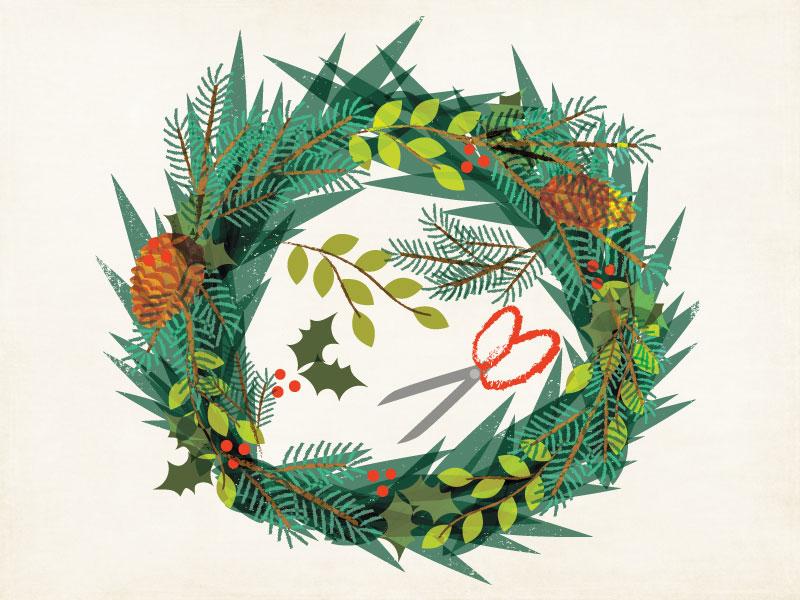 Holiday Wreath Workshop Illustration illustration christmas wreath workshop evergreens pattern flat design pinecone seasonal