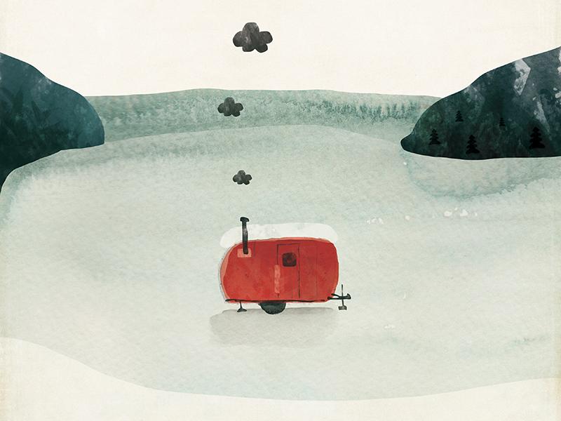 Ice Shanty Illustration wisconsin wisco state park amy sullivan nature winter illustration watercolor