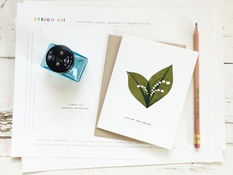 Printable Botanical Greeting Card Lily of the Valley  printable instant download lily of the valley modern illustration botanical