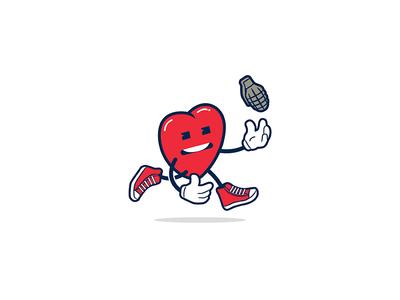 Heart grenade  love grenade valentines day heart illustration