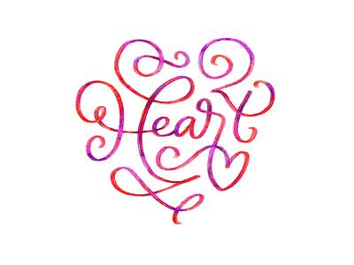 Heart purple pink red logotype design love heart procreate lettering