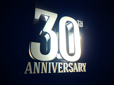 30th anniversary powerful stainless steel metal glossy massive elegant celebration 3d text 30th anniversary