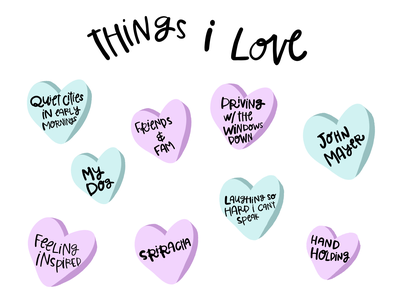 Valentine's Day - Things I love hand lettering handlettering hand drawn typography design procreate brushes procreate app drawing hearts love procreate art procreateapp procreate illustrator illustration