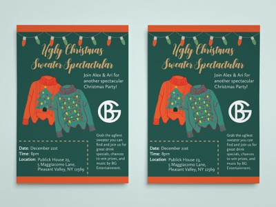 Ugly Christmas Sweater Poster christmas party christmas card event hand drawn illustrator sweater christmas layout design graphic design design illustration photoshop