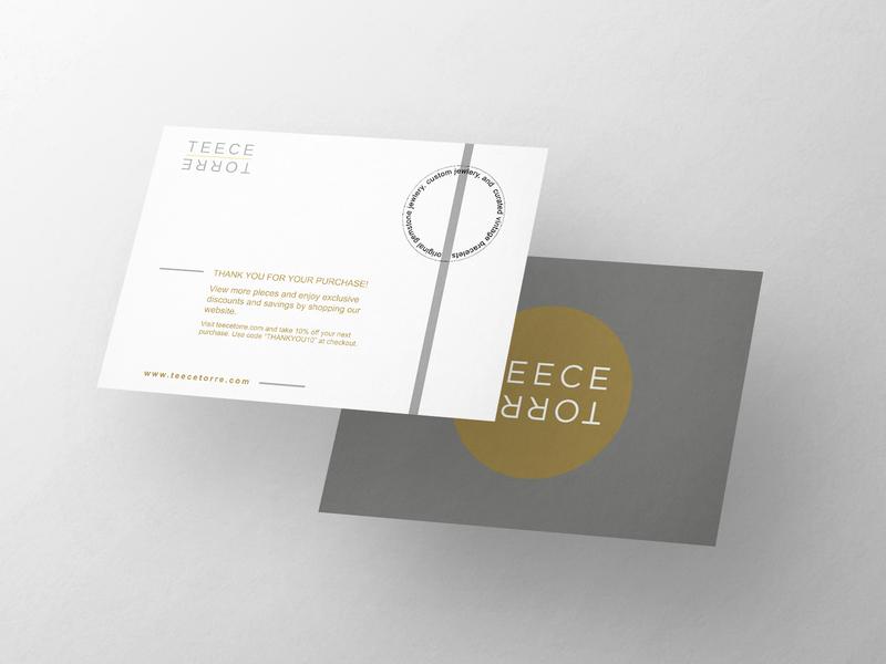 Teece Torre Postcard graphic graphic design layout design typography branding photoshop thank you card print design postcard jewlery thank you