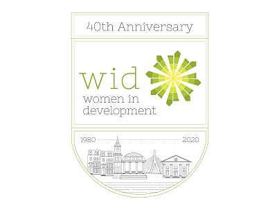 Women In Development of Greater Boston 40th Anniversary Logo cityscape city city logo city scape boston branding travel graphic vector logo illustrator design graphic design illustration photoshop