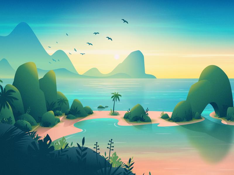 Tropical Escape Wallpaper background nature mountains birds plants island beach illustration tropical sunrise landscape