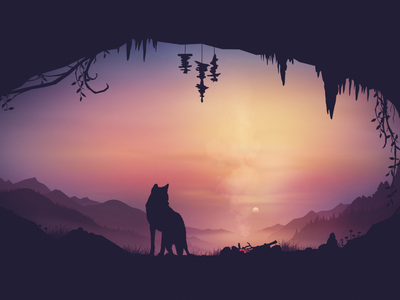 Slumber background animals vector fire sunset nature illustration mountains landscape