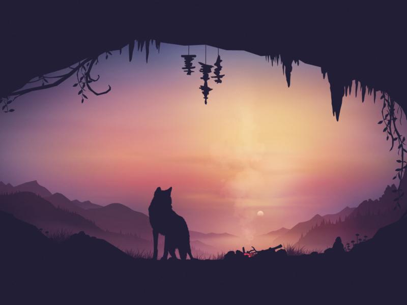 Slumber background animals vector fire sunset nature illustration mountains landscape