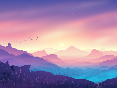 The Valley nature sunrise background illustration mountains gradient landscape