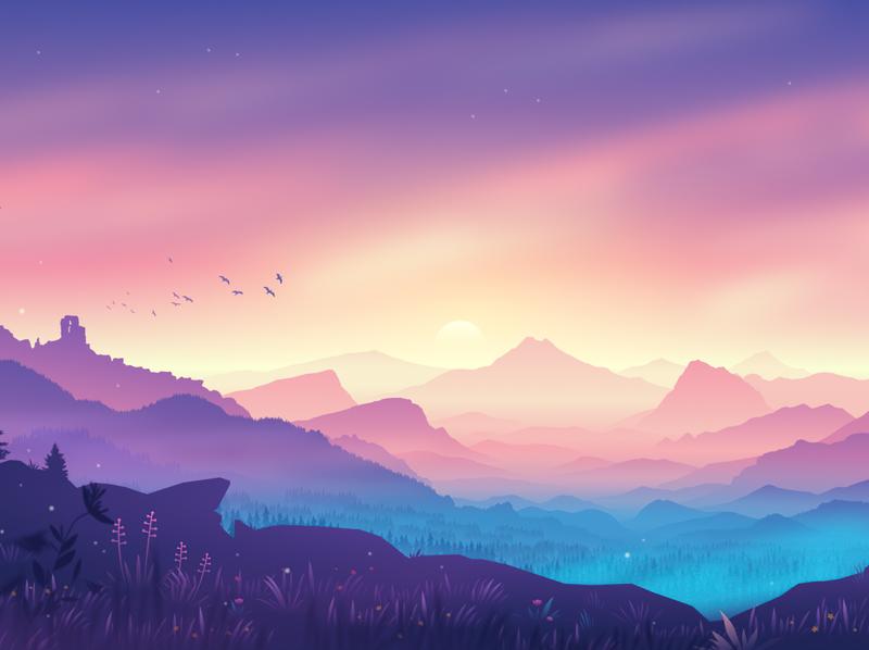 The Valley nature sunrise background illustration mountains gradient landscape