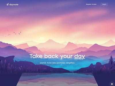 Daynote - Hero Section ui design illustration css animation effect paralax motion hero website landingpage homepage desktop design ui