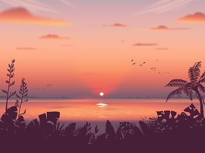 Summer of Love ocean beach illustration nature sunset landscape