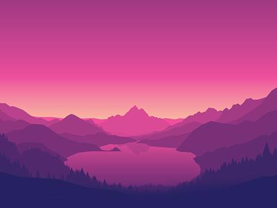 Lakeside landscape gradient svg