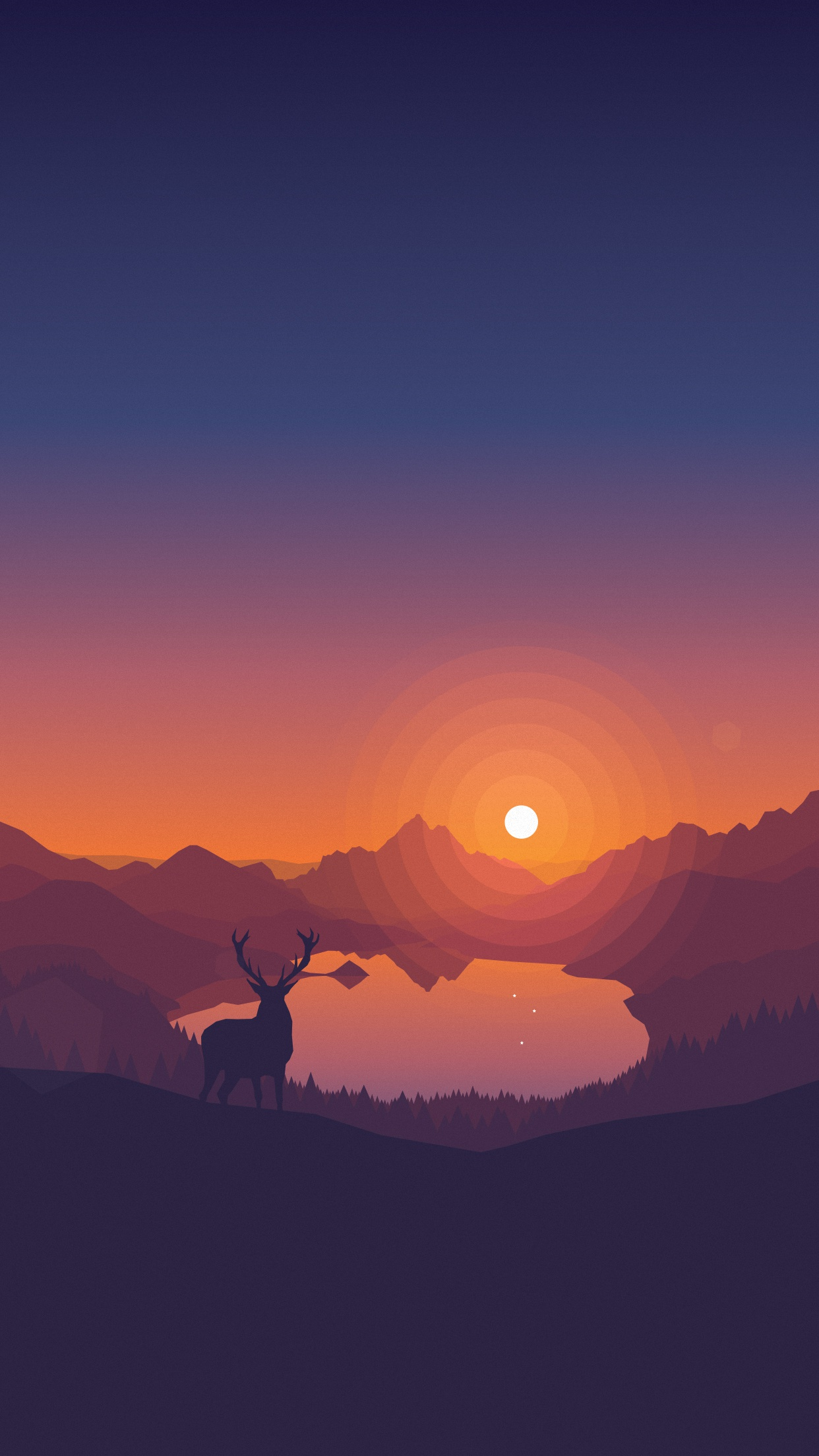Dribbble Lakeside Sunset 1242x2208 Ios6 Jpg By Louis Coyle