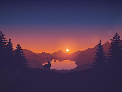 Lakeside Sunset landscape gradient svg