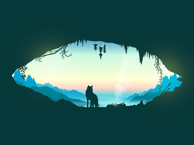 Awaken mist sunrise morning home spear fire wolf mountains cave vector