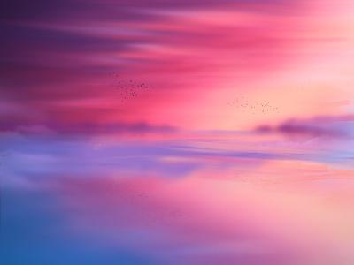 Horizon reflection sunset sky