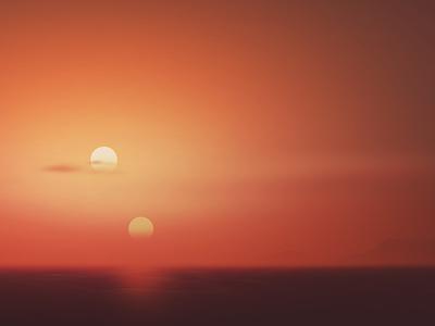 Binary Sunset - Luke's View sunset landscape star wars