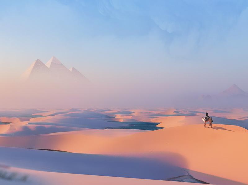 The Desert desert pyramids landscape