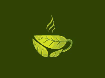 Grean tea cafe logo design food logo design food drink cafe tea time coffee break music coffee green green tea tea