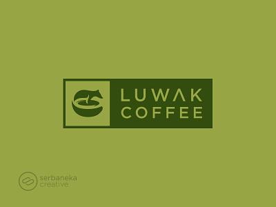 Luwak Coffee Logo creative minimal barista drink coffee addict coffee shop civet coffee luwak