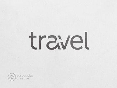 Travel Logotype negative space plane vacation backpacker travellers traveller serbaneka creative traveling travel logo inspirations