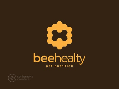 Bee Healthy Logo nutrition healthy petshop pet pets honeycomb bee honey hive food serbaneka creative drink logo inspirations