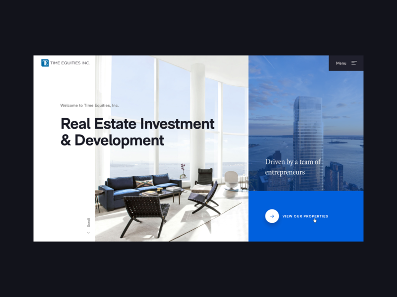 Time Equities Homepage interaction design motion typography desktop real estate interface web design ui