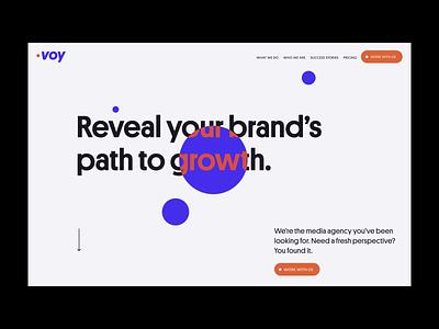 Voy Media homepage web design interface product web design ui