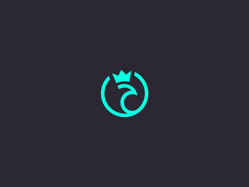 King Peacock bird green icon branding identity logo