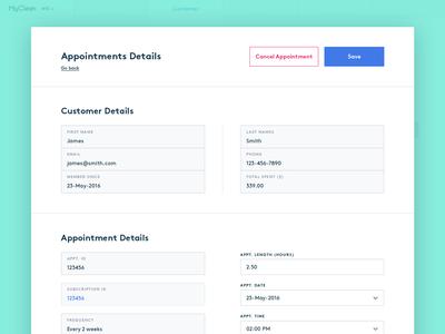 MyClean - edit appointment