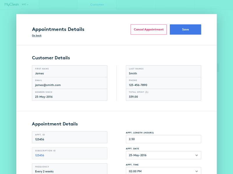 MyClean - edit appointment dashboad interface ux web product design ui interface design