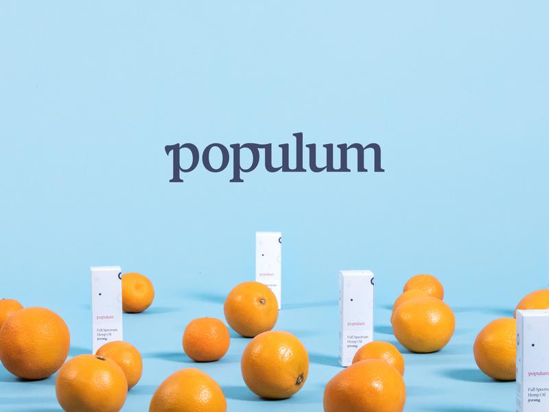 Meet Populum! orange packaging hemp cbd logo identity branding design