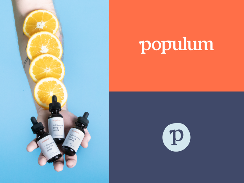 Populum identity orange wordmark photography packaging cbd oil brand typography logo identity branding