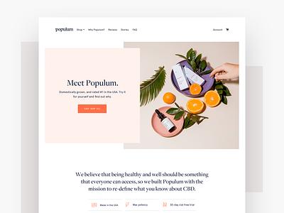 Populum 2.0 hompeage hemp cbd oil cbd shopify ecommerce product web identity logo branding design ui
