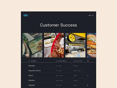 Olo - Customer Index ux ui typography product design software food dark website web visual design ui design
