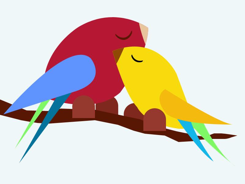 Love Birds character illustration valentine day valentine-day flat gif love birds art
