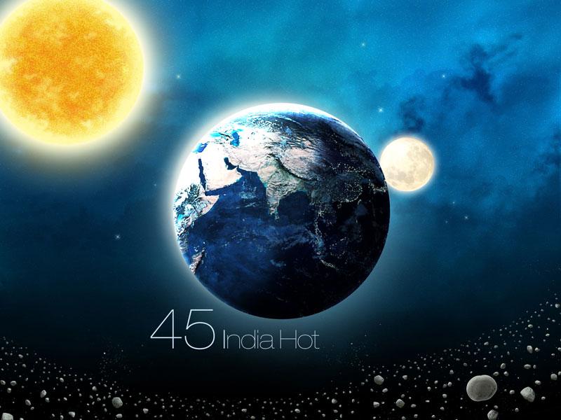 Hot India illustration minimal weather ios app earth sun moon