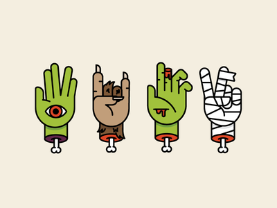 Creepy Hands outline fingers peace mummy zombie werewolf alien halloween hand creepy collaboration