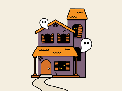 Haunted House outline ghost house haunted halloween