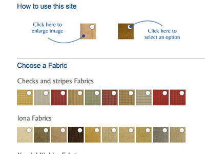 Furniture Website Usability usability instructions select swatch gallery